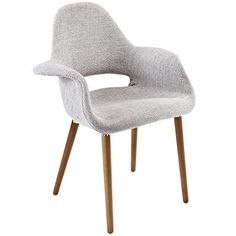 Modway Aegis MidCentury Modern Upholstered Fabric Organic Dining Armchair With Wood Legs In Light Gray -- You can get additional details at the image link. (This is an affiliate link and I receive a commission for the sales) Fabric Dining Chairs, Dining Arm Chair, Upholstered Dining Chairs, Eames Chairs, Swivel Chair, Dining Table, Desk Chairs, Lounge Chairs, Mid Century Modern Armchair
