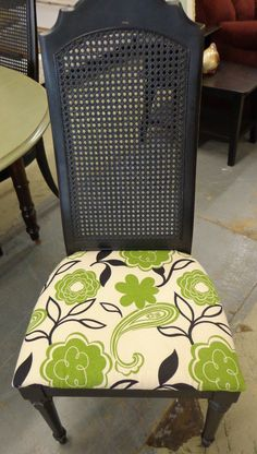 Up-cycled Dining Chair in a chalk paint and waxed. Newly upholstered seat.  www.brilliancebydesign.biz