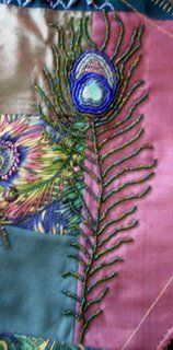 DON'T call me CRAFTY  ~~~ Very nice embroidered peacock feather on crazy quilt block
