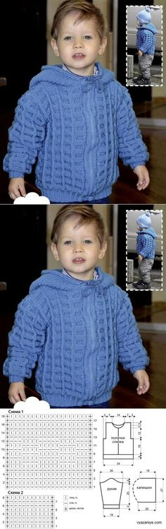 Кофта С Капюшоном Для Мальчика. Baby Boy Knitting Patterns, Baby Sweater Patterns, Baby Cardigan Knitting Pattern, Knitting For Kids, Crochet For Kids, Knitting Designs, Baby Patterns, Crochet Dog Sweater, Crochet Baby Beanie