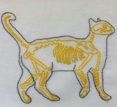 Cat embroidery #xray #skelleton #yellow #stitches #cat #embroidery