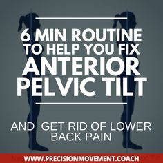 An anterior pelvic tilt can cause low back pain and hip dysfunctions. Try this 6 minute routine to help you reset your pelvis into neutral position. Hip Workout, Pilates Workout, Hiit, Anterior Pelvic Tilt Fix, Pelvic Floor Exercises, Posture Exercises, Hip Stretches, Stretching, Arm Workouts At Home