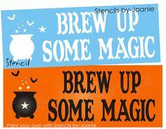 STENCIL+Brew+Up+Magic+Witch+Cauldron+Bat+Primitive+Sign+#StencilsbyJoanie
