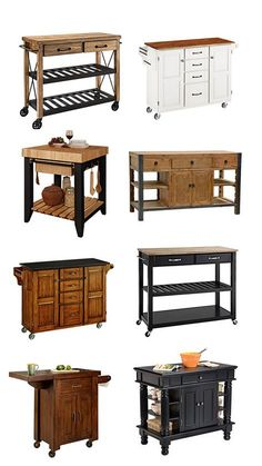 A selection of small and movable kitchen islands from Lamps Plus - Arbeitsflächen Kitchen Trolley, Diy Kitchen Island, Diy Kitchen Storage, New Kitchen, Small Kitchen Islands, Portable Kitchen Island, Kitchen Cabinets, Kitchen Interior, Kitchen Decor