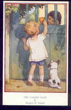 Margaret W. Tarrant (1888 -1959, English) vintage postcard -The Garden Gate