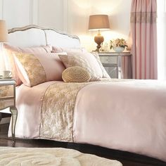 Victoria Blush Duvet Cover and Standard Pillowcase Set | Our exclusive Victoria range represents the ultimate in femininity and indulgence! The face of the duvet cover and pillowcase is crafted in a silky soft sateen fabric that is subtly decorated with antique coloured lace. #Kaleidoscope #Bedding #Bed #Bedroom #Style #Home www.kaleidoscope.co.uk