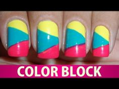 Unhas Decoradas - Color Block - YouTube