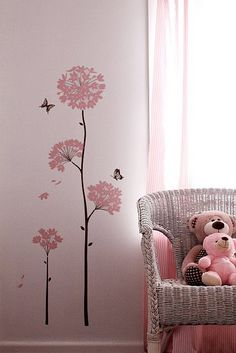 baby girl toddler pink nursery design chair teddy bear wall decal