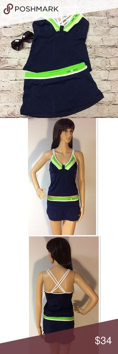 ZERO XPOSUR SKIRTED TANKINI SET Cute and sporty TANKINI set with a crisscross back and a skirted bottom. Top is lightly padded and it has no snags or problems. ZeroXposur Swim Bikinis