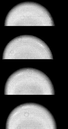 Time-lapse Voyager 2 images of Uranus show the movement of two small, bright, streaky clouds -- the first such features ever seen on the planet. The clouds were detected in this series of orange-filtered images taken Jan. 14, 1986, over a 4.6-hour interval (from top to bottom). At the time, the spacecraft was about 12.9 million kilometers (8.0 million miles) from the planet, whose pole of rotation is near the center of each disk.