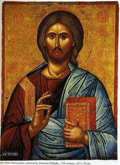 Christ stands before us in this well-preserved c. Cretan icon with a clear and perceptive gaze, and in His left hand He holds a closed ornate Gospel Book Christian Paintings, Christian Art, Christian Church, Byzantine Art, Byzantine Icons, Catholic Art, Religious Art, Savior, Jesus Christ