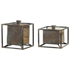 Slate Cube Boxes with Iron Frames – Set of 2