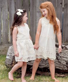 Ivory Embroidered Sunflower Dress - Infant, Toddler & Girls | zulily