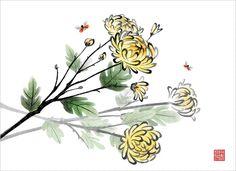 식물, 꽃, 오브젝트, 한국, 수묵화, 프리진, 국화, 한국그림, 동양, 페인터, 동양화, ladybird, 일러스트, 프리진 #유토이미지 #프리진 #utoimage #freegine 9123107