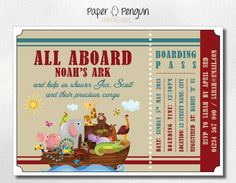 noah's ark baby shower invitations | Noah's Ark Baby Shower Invitation - printable digital download invites