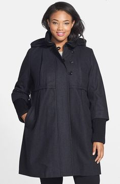 DKNY Rib Knit Trim Wool Blend Babydoll Coat with Detachable Hood (Plus Size) available at #Nordstrom