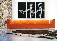 $239 / Banksy Pulp Fiction Bananas Canvas Art Print / HANK
