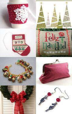 Festive Season Ahead by Linda Pruitt featuring my Cherry Red Plaid Wreath Bow!!--Pinned with TreasuryPin.com