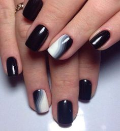 Nails design short nails black lacquer white lacquer strips black and white rainbow all for manicure sevtao.ru