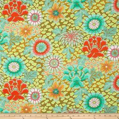 Kaffe Fassett Collective Dream Moss from @fabricdotcom  Designed by Kaffe Fassett for Free Spirit, this cotton print is perfect for quilting, apparel and home decor accents.  Colors include shades of green, coral, hot pink, soft pink, orange, aqua and mint.