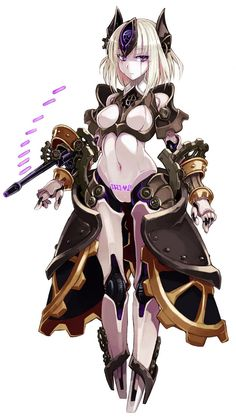 android automaton (monster girl encyclopedia) blonde hair body writing breasts full body gears gun highres kenkou cross looking at viewer medium breasts monster girl monster girl encyclopedia navel purple eyes robot robot ears robot joints short hair Cute Characters, Fantasy Characters, Female Characters, Anime Characters, Fantasy Girl, Anime Fantasy, Monster Girl Encyclopedia Wiki, Character Concept, Character Art