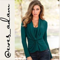 Green Wrapped Front Top Fall in love with this great condition draped front top from Venus! Only worn twice! This material is so soft and stunning with no visible flaws. Pair with anything! Dress it up or down. Has long sleeves, built in cami and a draped knotted look front. Made of 95% rayon, 5% spandex. Same day shipping available if ordered before 2pm Monday-Saturday. Don't miss out on this amazing deal and top Venus Tops