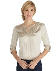 Long Sleeve Silk Front-Pocket Blouse - White House | Black Market