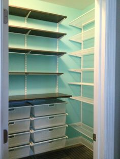 Narrower shelves on both corners of the pantry. Easier access