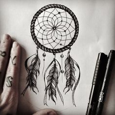 Dreamcatcher tattoo Design Drawing<3 I LOVE The Feathers <3