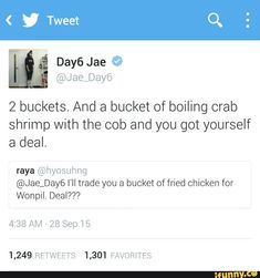 Jae selling his bandmate for chicken, crab and shrimp XD