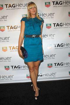 Maria Sharapova at a Tag Heuer event wearing a striking blue Lanvin dress