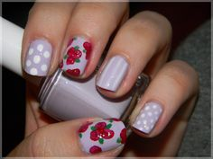 Dots, Roses, Vintage. Nail art by me.  http://smoothnails.wordpress.com/