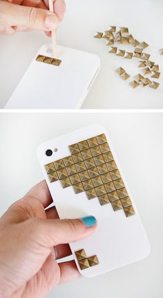 Studded iPhone case DIY DIY Tech Do It Yourself upcycle recycle how to craft crafts instructable gadgets  fashion