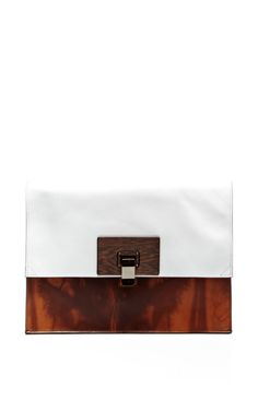 Large Lunch Bag In Wood Print Leather by Proenza Schouler for Preorder on Moda Operandi