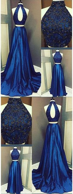 Two Piece Royal Blue Prom Dress, Long A-Line