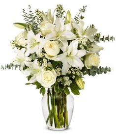 Flowers - With All Our Sympathy Lily Arrangement (FREE Vase Included) - http://flowersnhoney.com/flowers-with-all-our-sympathy-lily-arrangement-free-vase-included/