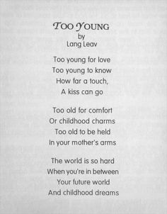 Too Young - Lang Leav