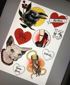 Louise will be doing a walk in day on Friday 13th for any designs on this flash sheet (and any custom design 13's). First come, first serve. Bookings welcome with a 50% deposit. Designs in hearts can be changed (colour/script). These are one time only. Email - reception@monumentalink.co.uk for enquiries. - #fridaythe13th #spooky #tattoo #designs #sphinxcat #raven