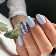 Best Nails Art Verano Tips 36 Ideas Blue Gel Nails, Cute Acrylic Nails, Acrylic Nail Designs, My Nails, Light Blue Nails, Summer Shellac Nails, Nail Art Blue, Pastel Blue Nails, Shellac Nail Art
