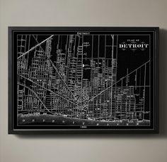Detroit map print poster