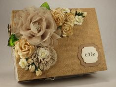 Custom Wedding Album Rustic Country Burlap Covered by ScrapsofLuv, $50.00