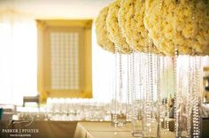#wedding #cocktail hour with escort cards pinned to giant #yellow frames