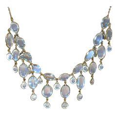 Edwardian Dazzling Antique Moonstone Drop Gold Necklace