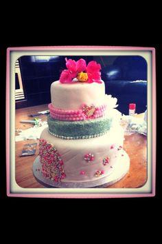 Pink pearl bridal shower cake