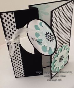 Jan Girl: Stampin' Up Circle Card Thinlits Flower Patch Back In Black card