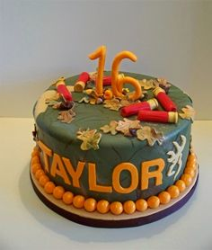 Camo Cake for a Girl, shotgun shells on top! Cuttteee. & it says my name! ;P