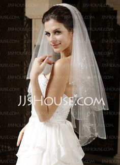 Wedding Veils - $24.99 - Two-tier Elbow Bridal Veils Fingertip Bridal Veils With Finished Edge (006034328) http://jjshouse.com/Two-Tier-Elbow-Bridal-Veils-Fingertip-Bridal-Veils-With-Finished-Edge-006034328-g34328
