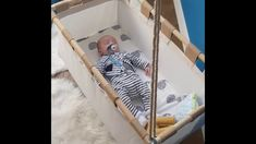 Sleeping and swinging in a Hussh Cradle