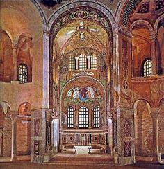 San Vitale de Rávena, siglo VI. Los mosáicos se sitúan en el presbítero y en el altar mayor. En el altar están representados el emperador Justiniano y su esposa Teodora con su séquito.