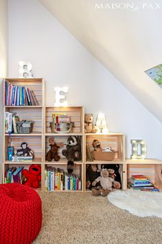 Adorable reading and play room for kids: create a darling nook anywhere in your house with books, maps, pillows, poufs, and more | maisondepax.com Kids Bedroom, Bookcase, Plush, Shelves, Bookcases, Sweatshirt, Book Furniture, Childs Bedroom, Bookcase Closet